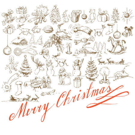 christmas background - hand drawn card Vector