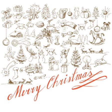 christmas background - Hand gezogene Karte Illustration