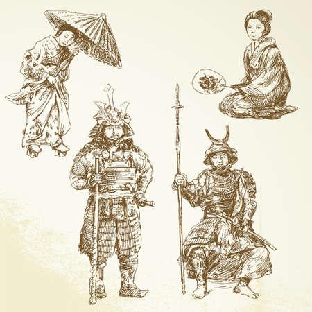 donna giapponese: samurai - guerriero nella tradizione giapponese Vettoriali