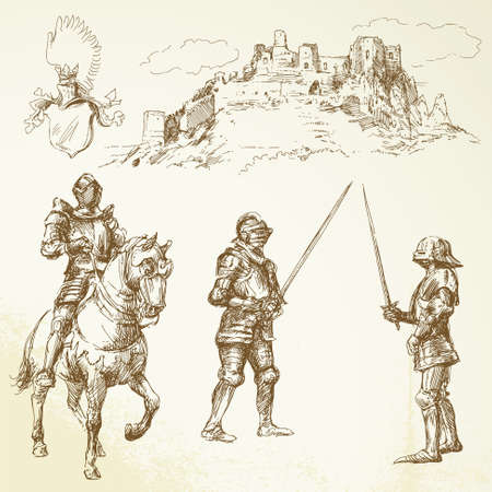 castillo medieval: caballeros de mediana edad - dibujados a mano set Vectores
