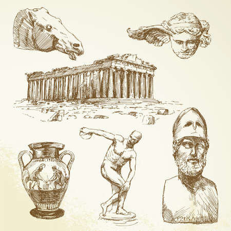 democracia: antigua grecia - colección dibujado a mano