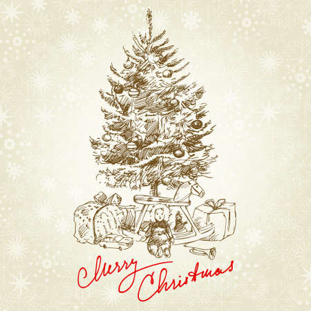 christmas bird: hand drawn vintage christmas tree