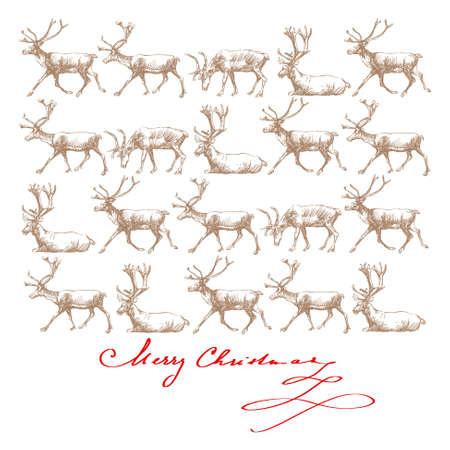 running reindeer: christmas rendeers - hand drawn card