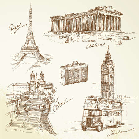 travel over Europe - hand drawn collection   Vector
