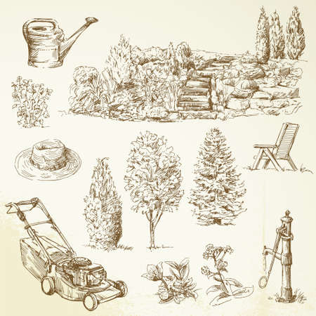 wood agricultural: gardening tools - hand drawn collection   Illustration