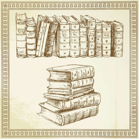 rare books - hand drawn set Stock Vector - 14968903