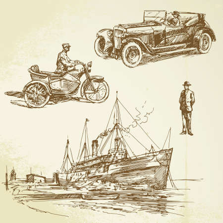 marine ship: old times - hand drawn set Illustration