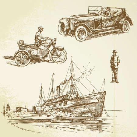 romantic travel: old times - hand drawn set Illustration
