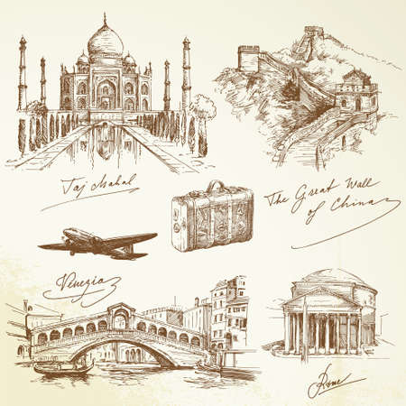 china art: over the world travel - hand drawn illustration