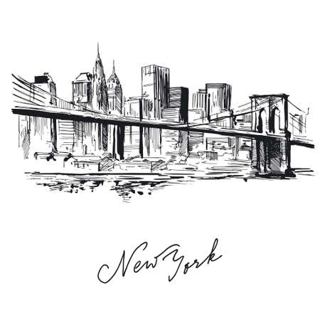 manhattan skyline: new york - hand drawn metropolis  Illustration