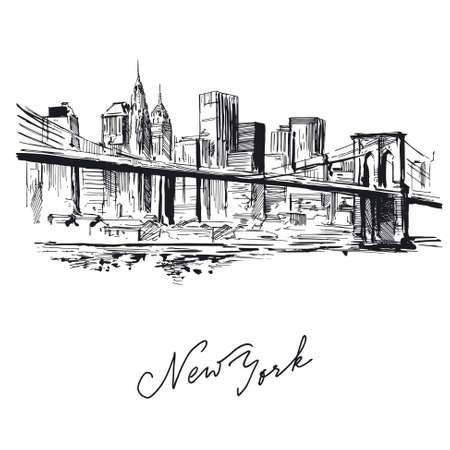 nowy: Nowy Jork - ręcznie rysowane metropolia Ilustracja