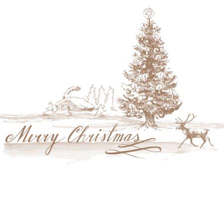 クリスマスの背景 - 手描き下ろしカード 写真素材 - 15039427