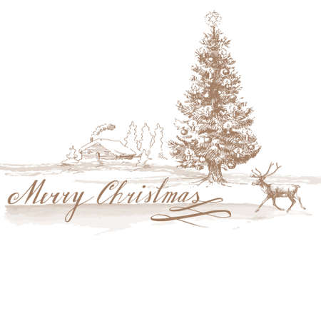 Kerst achtergrond - de hand getrokken kaart