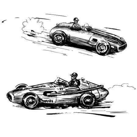 accelerating: vintage racing cars - hand drawn collection Illustration