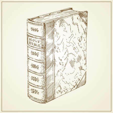 holy bible - rare book - hand drawn illustration Vector