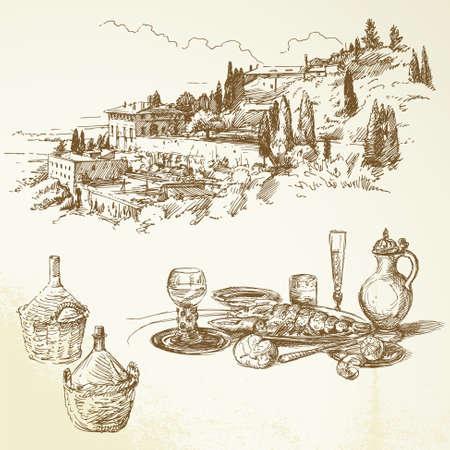 トスカーナ ・ ワイン、ブドウ園手描き下ろしコレクション  イラスト・ベクター素材