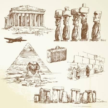 sphinx: percorrere il mondo - collezione disegnata a mano Vettoriali
