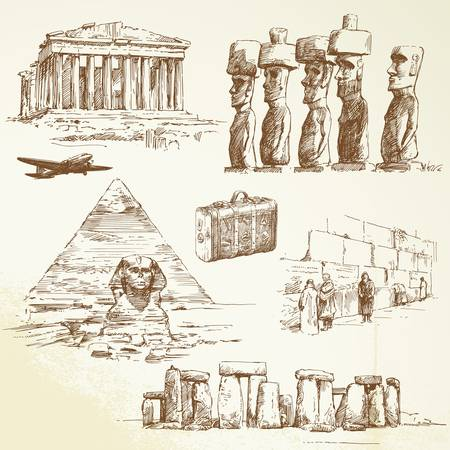 parthenon: travel over the world - hand drawn collection