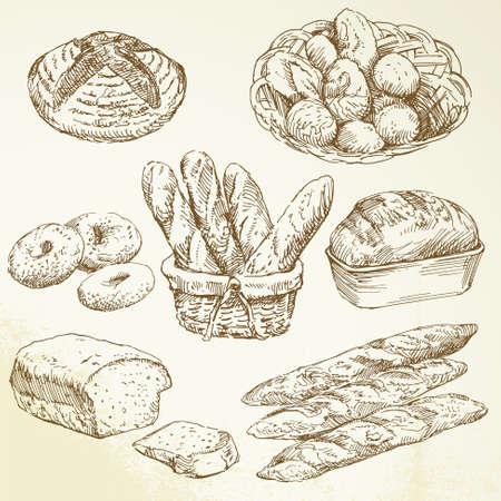 bakery sign: panader�a - dibujado a mano colecci�n
