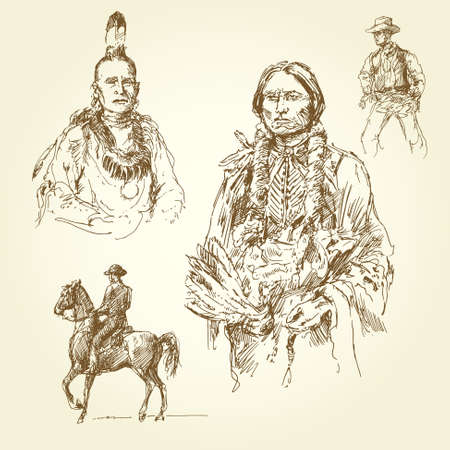 cowboy on horse: wild west - hand drawn collection Illustration