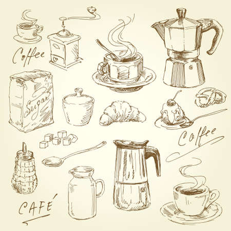 hand drawn coffee collection Vector