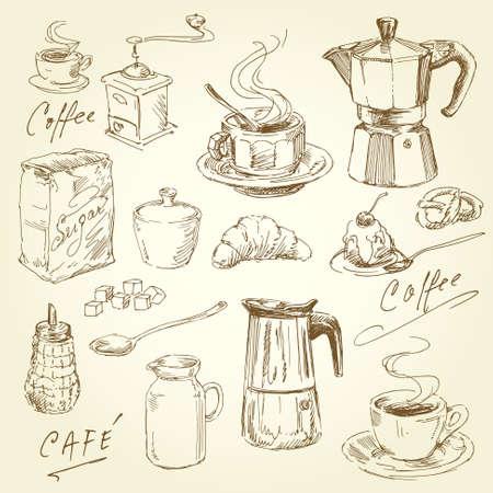 molinillo: mano café elaborado colección Vectores