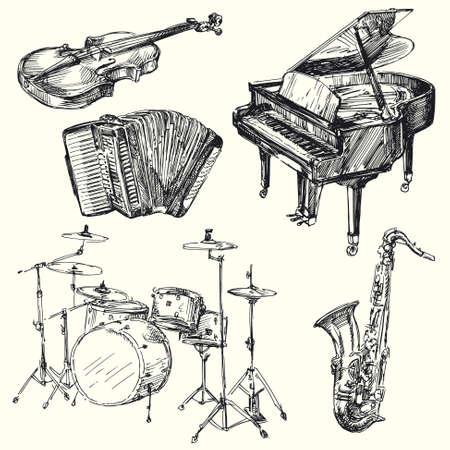 楽器 - 手描き下ろしコレクション  イラスト・ベクター素材