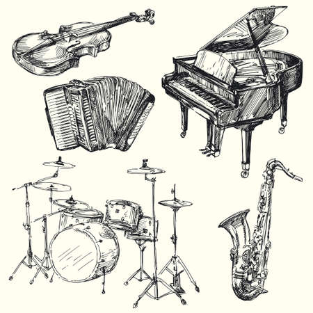 violins: musical instruments - hand drawn collection Illustration