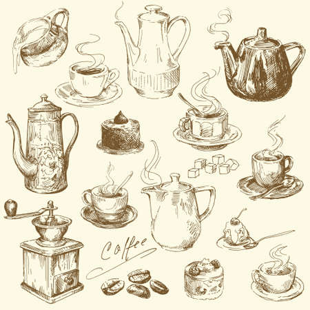 コーヒー コレクション - 手描きイラスト
