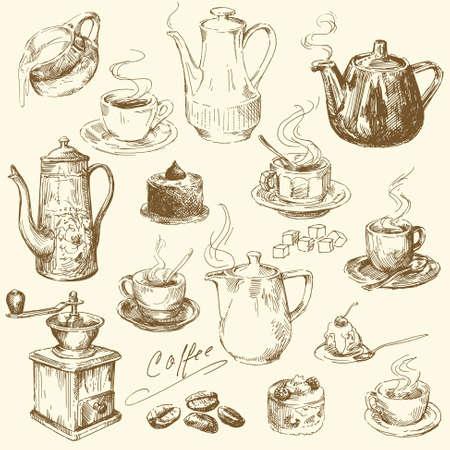 patisserie: Collezione caff� - illustrazione disegnata a mano