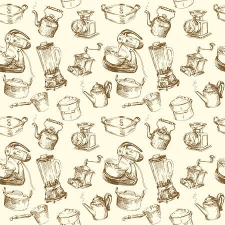 kitchen illustration: kitchen utensils seamless wallpaper