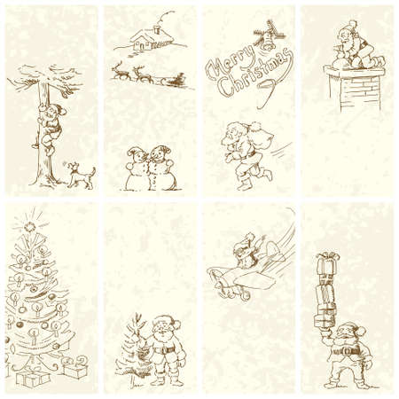 funny Christmas banners - hand drawn illustration Vector