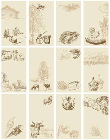 cabra: vintage tarjetas de negocios - colección dibujado a mano Vectores
