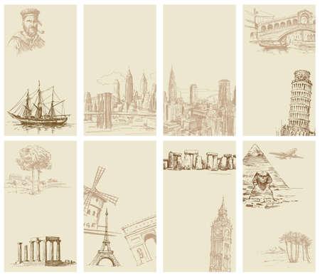 Reise - Visitenkarten Illustration