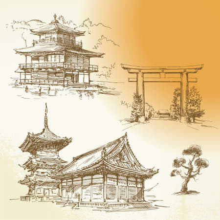 tempels: Kyoto, Nara, japanse erfgoed - hand getekende collectie Stock Illustratie