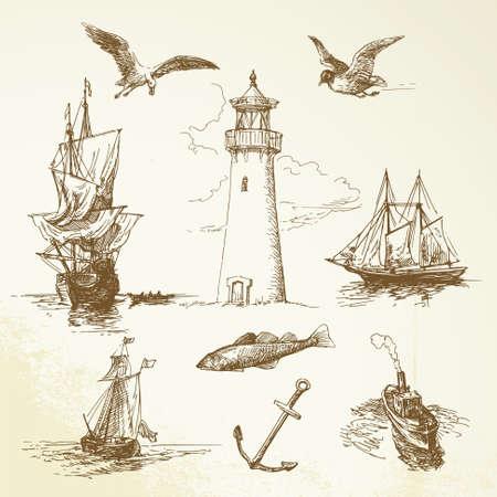 pajaro  dibujo: dibujados a mano elementos náuticos Vectores