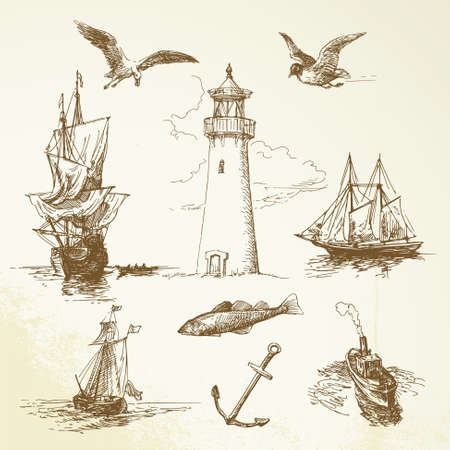 ancient bird: hand drawn nautical elements