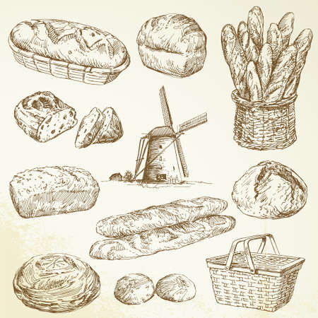 bread roll: bakery, bread - hand drawn set