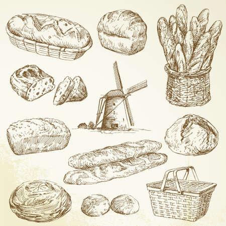 bakery sign: panader�a, bread - dibujado a mano set Vectores