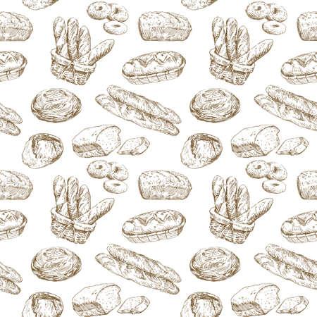 手描きイラスト - ベーカリー シームレスな壁紙  イラスト・ベクター素材