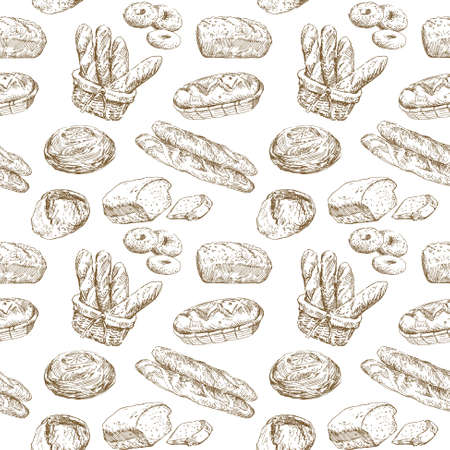 baguette: hand drawn illustration - bakery seamless wallpaper