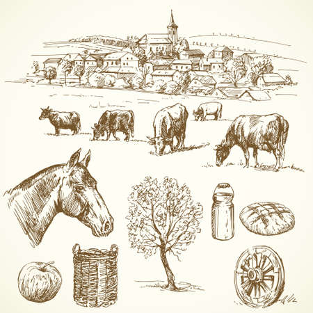 farm - hand drawn collection Stock Vector - 15553833