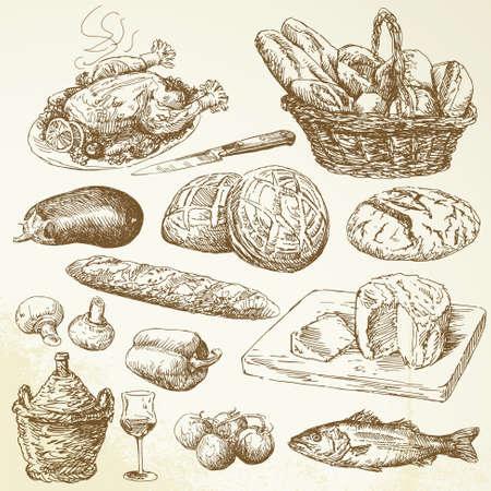 bread and wine: recogida de alimentos - dibujado a mano set