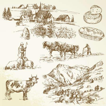 Bauernhof, Landwirtschaft Dorf - Landschaft im ländlichen Raum Illustration