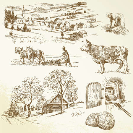 cottage cheese: rural landscape, agriculture, farming Illustration