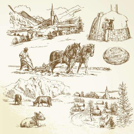 農業、田舎の村