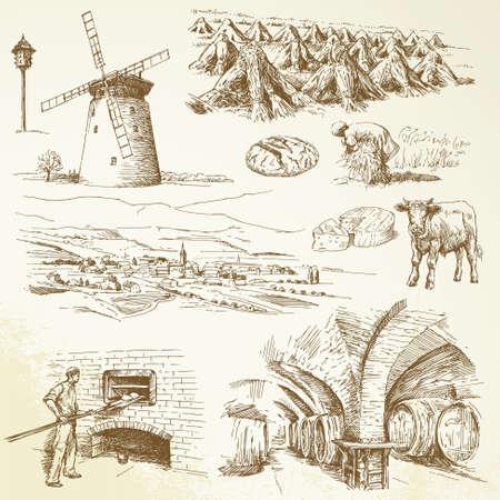 melker: landbouw, landelijk dorp Stock Illustratie