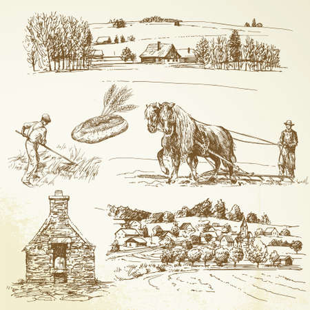 farm animal cartoon: rural landscape, agriculture, village Illustration