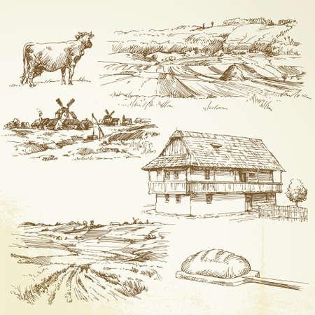 bakery oven: farming, rural landscape Illustration