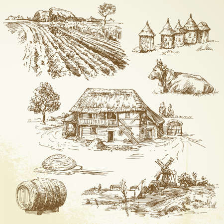 rural landscape, agriculture, farming  Stock Vector - 15910490